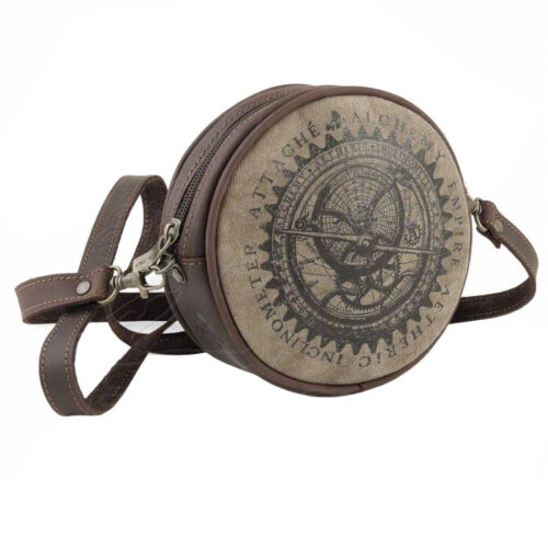 Alchemy Gothic Aetheric Inclinometer Compass Steampunk Canvas Leather Hand Bag