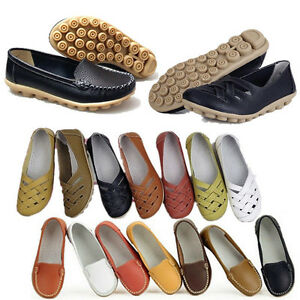 8d136b5898e Image is loading Womens-Leather-Loafers-Moccasin-Ballet-Casual-Anti-skid-