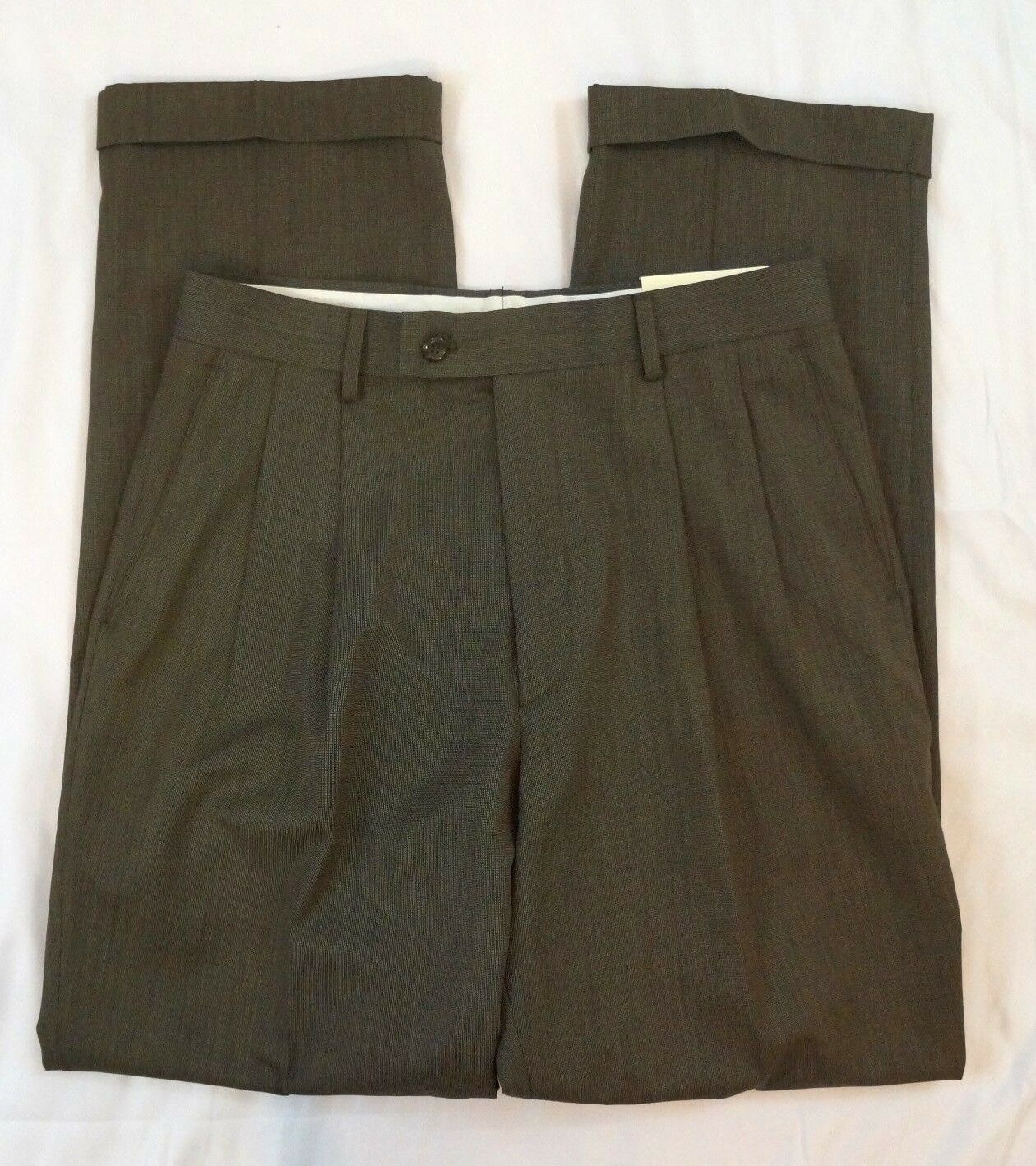 Alan Flusser Classic Fit Size 32 X 32 Pleated Field Brown Career Dress Pants