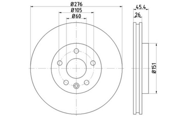 1x TEXTAR Disco de freno delantero Ventilado 276mm 92277103