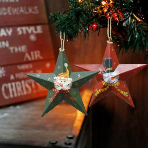 Rustic Snowman Pattern Traditional Christmas Tree Ornament Metal Star Xmas Decor