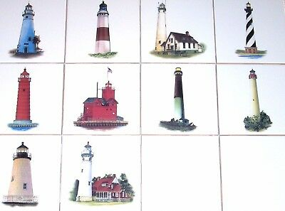 Lighthouse Tile Backsplash Ceramic Mural McCrea Montauk Point Art DMA056