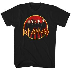 Def-Leppard-Group-Photo-Mens-T-Shirt-Logo-Rock-Band-Album-Tour-Music-Merch-Black