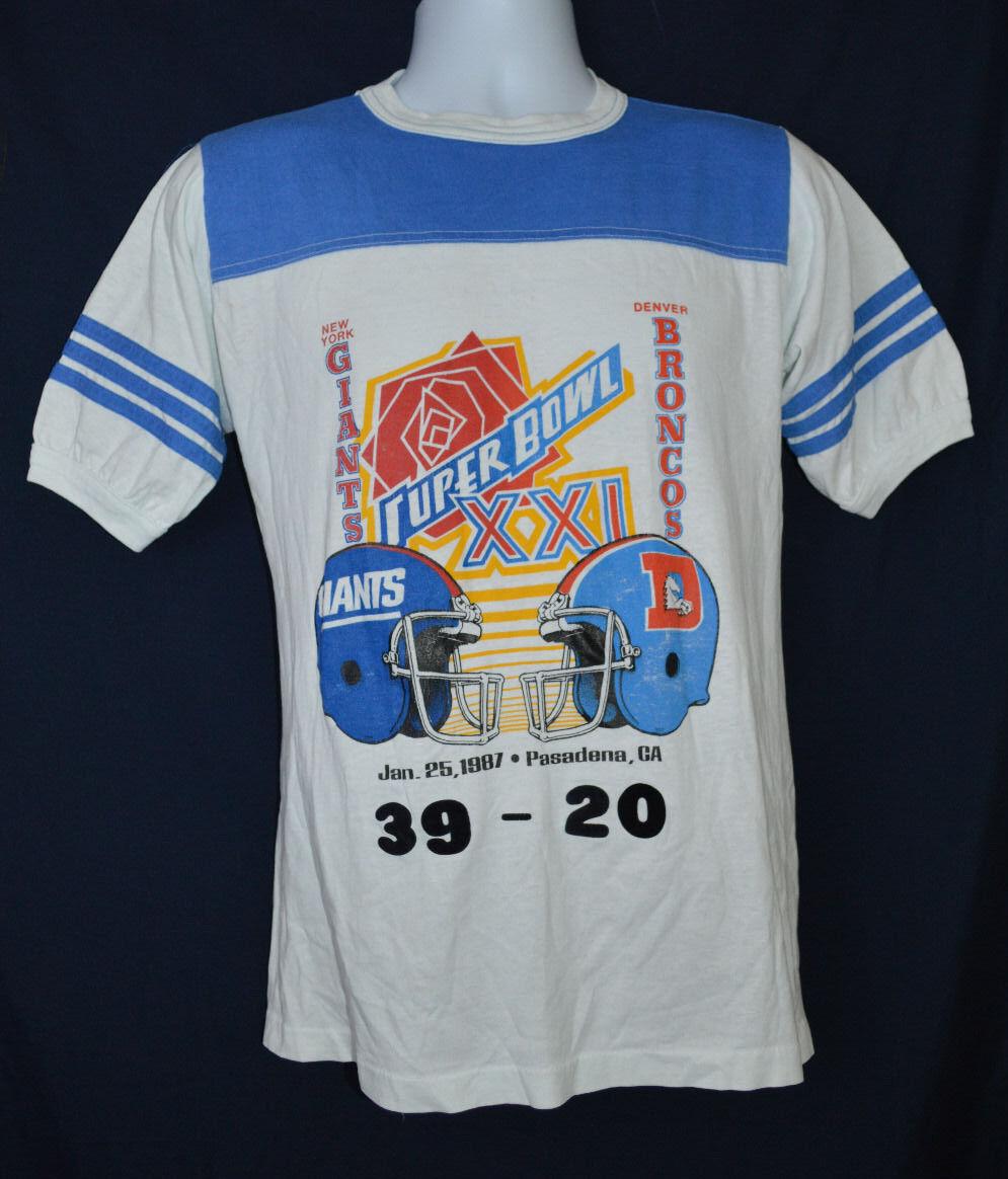 RARE Vintage 1987 Super Bowl XXI New York Giants Football T Shirt S Small