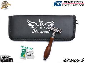 Men-Safety-DARK-WOOD-Razor-Double-Edge-Razors-10-Free-Blades-amp-Pouch-travel-kit