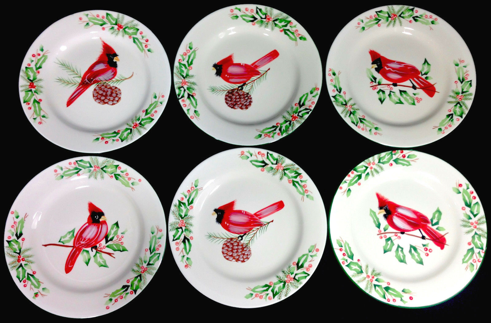 Florida Marketplace Entertaining Salad Plates CHRISTMAS CARDINAL   Lot of 6