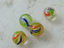 Antique Hand Made Divided Core Glass Marble Swirl Set German Vintage x4 Ribbon