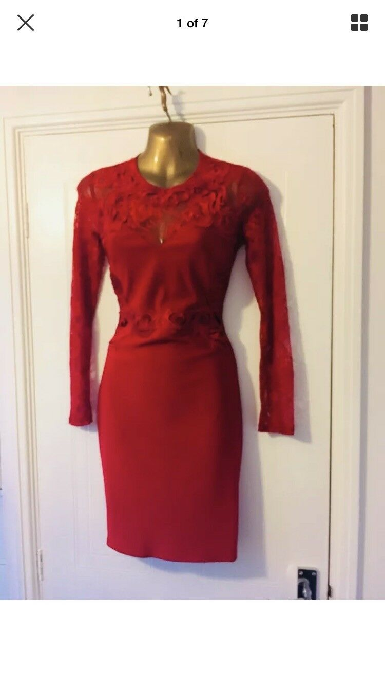 BN Lipsy Red Lace Appliqué Bodycon Mini Fitted Dress Size 10 Xmas Party Evening
