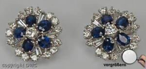 Ohrclips-Stecker-Ringe-mit-Safir-Saphir-Brillanten-Diamant-18-Kt-750-Gold