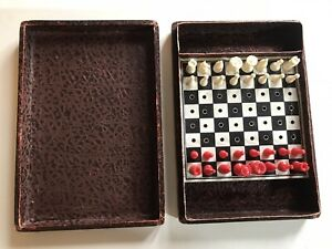 Vintage-Chess-Travel-Set-1960-s-Leather-Effect-Box-Complete-Set-Used-Pre-owned
