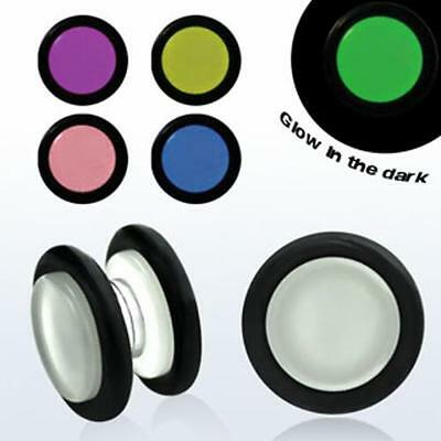 Acrylic Fake Illusion Earrings Magnetic Plugs Glow In The Dark 6mm-12mm New USA