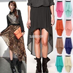 Women-Double-Layer-Chiffon-Pleated-Retro-Long-Maxi-Dress-Elastic-Waist-Skirt-Hot