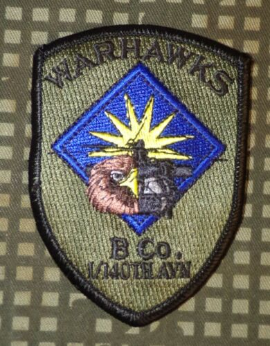 Subdued Patch 140th Aviation Regiment Warhawks 1st Battalion US Army B Co
