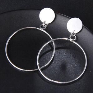 15c55e67d05eb Details about Big Silver Hoop Earrings Round Large Long Party Drop Dangle  Geometric Minimalist