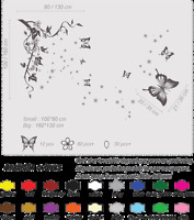 Butterfly Tree Flower Wall Stickers Wall Decals Wall Art Bedroom decoration