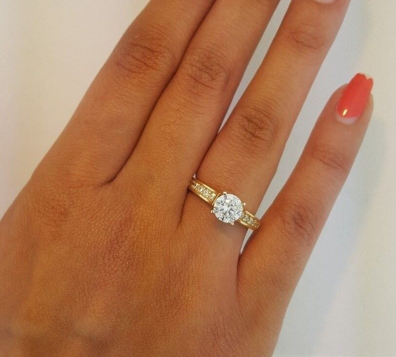 14k Solid Yellow gold 1.25 CT Channel Set Diamond Solitaire Engagement Ring