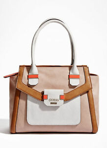 46917f486470 NWT GUESS Keita Avery Satchel Handbag Purse Tote Beige Pink Nude ...