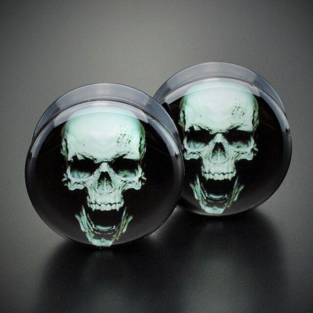 Pair Acrylic Ear Gauges Plugs Flesh Tunnels Expanders Screw Screaming Skull