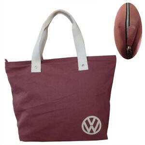 Dettagli su Ufficiale VW Tela Donna Borsa Shopping Rosso
