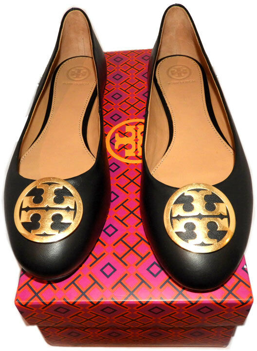 Tory Burch BENTON Reva Ballerina Flats gold gold gold Logo Ballet shoes 9.5 Black Leather 44c89a