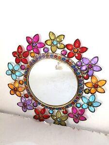 Specchio Specchiera cornice in pietre colorate da parete stile etnico chic