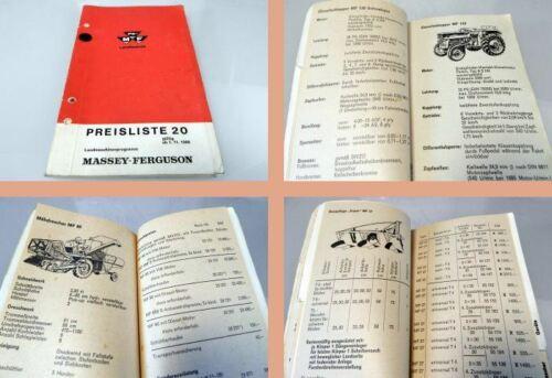 Massey Ferguson MF 130 135 165 177 Schlepper Landmaschinen Preisliste E20 ab1966
