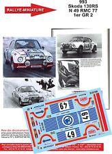DÉCALS 1/18 réf 993 Skoda 130RS N 49 MONTE CARLO 1977 1er GR 2