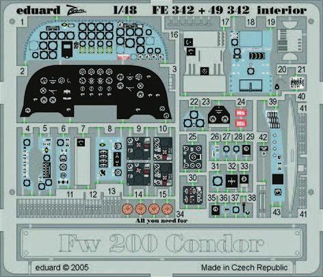 Eduard Accessories Fe342-1:48 Fw 200 Condor Interior Neu Ätzsatz