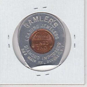 KAPPYSPENNY-W3285-1946-GAMLER-039-S-JEWELERS-BUFFALO-ENCASED-GOOD-LUCK-LUCKY-PENNY