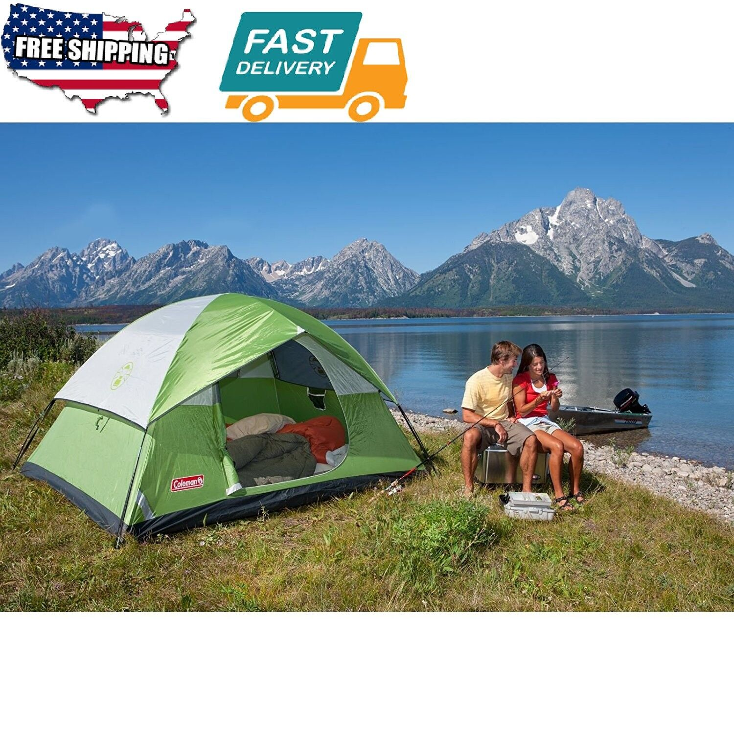 4 Person Fits Outdoor Sport Camping Hiking Family Tent Sundome Design Windows