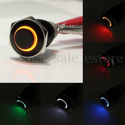 New Black 16mm 12V Red Angel Eye Led Metal Momentary Off Push Button Switch