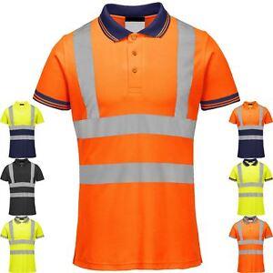 Hi-Viz-Visibilidad-Polo-Camiseta-cinta-reflectante-seguridad-alta-Vis-Seguridad-Trabajo-superior