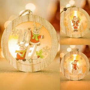3x-Christmas-Natural-Wooden-LED-Light-Up-Round-Plaque-Tree-Xmas-Hanging-Decor