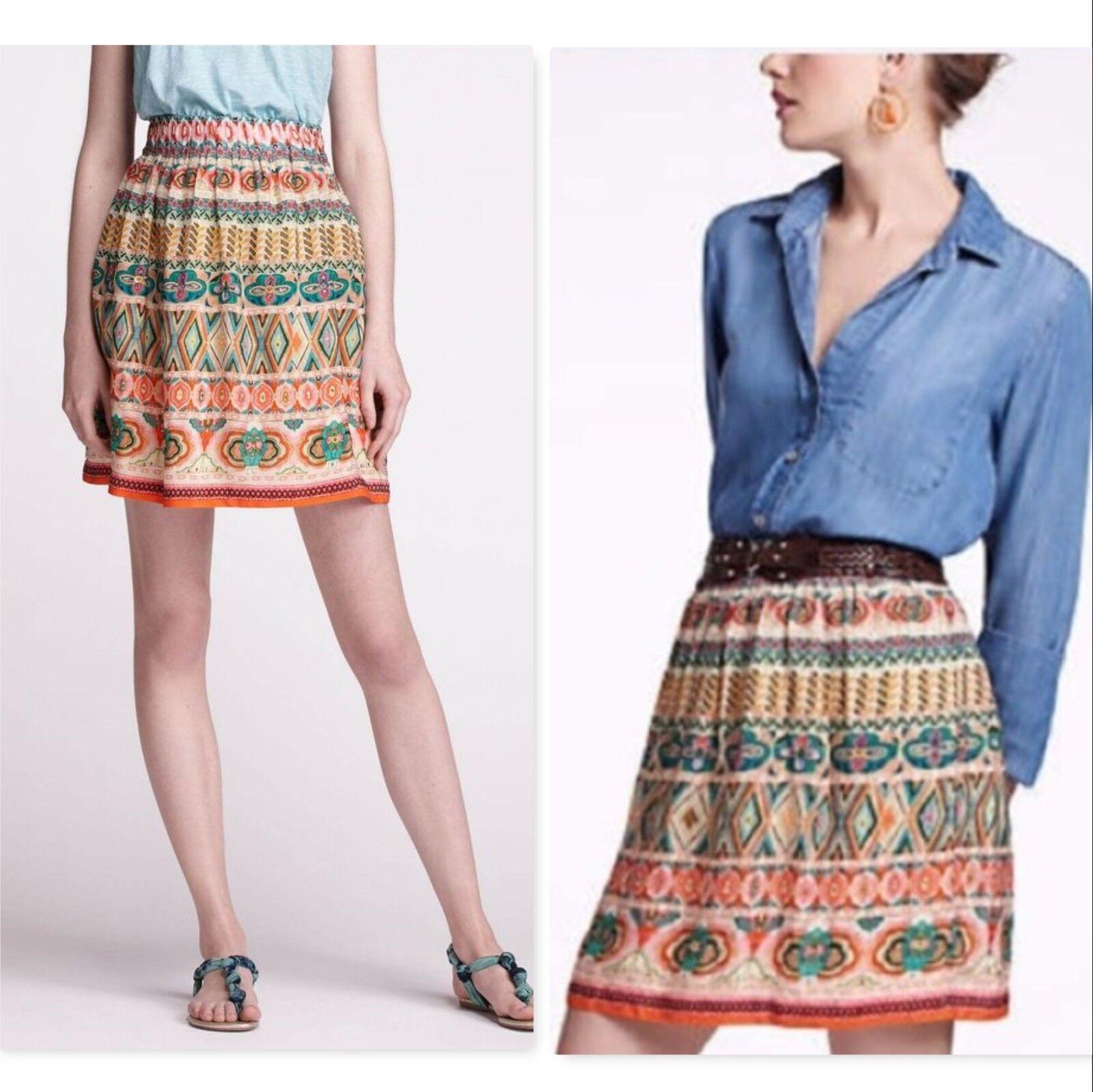 Anthropologie Tanvi Kedia goldya Echo Skirt printed sequin sz medium