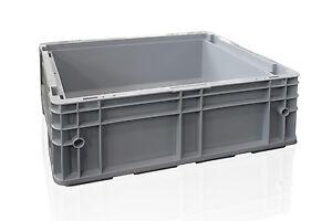12x-fabrikneue-Stapelkisten-Behaelter-R-KLT-4315-400x300x147-mm-silbergrau
