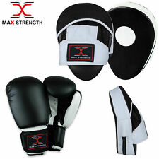 Boxing Gloves and Focus Pads Set Hook & Jabs Mitts Punch Bag Gym Training MMA