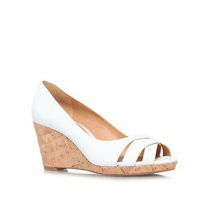 Nine-West-Jelica-Blanc-Stylo-Bout-Compensees-Talons-Hauts-Chaussures-UK8-US11-EU42-NEW-IN-BOX