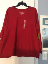NWT! Ladies Made For Life, Pullover Fleece-Like Top, L/S, Rumba Red, So 2X