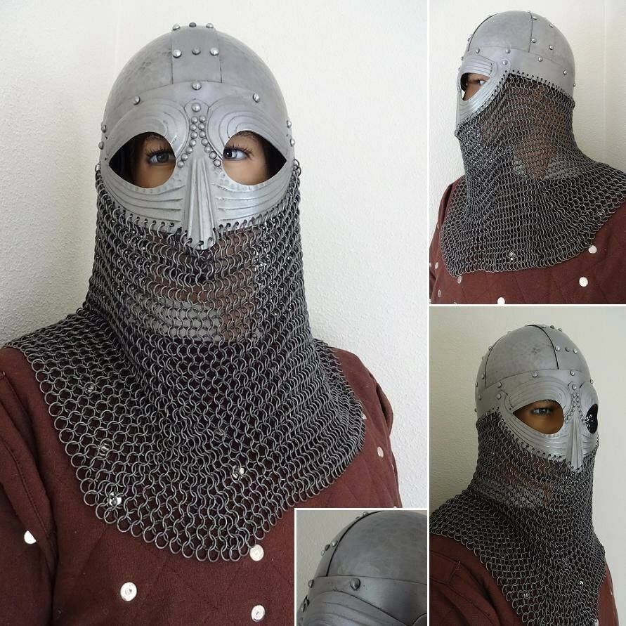 Viking Vendel Helm with Hammered Hammered Hammered Detail and Chain Mail Ideal for LARP 7f599e