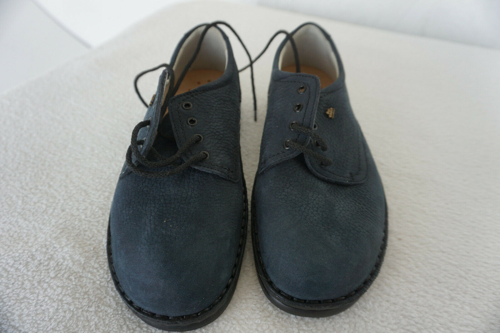Finn Comfort COLMAR shoes Lace Up shoes Insoles Size 4 37 Nubuck Leather Navy New