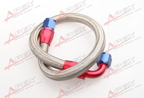 "63/"" 90° 6AN SS Braided Racing Performance Oil Fuel Coolant Line Hose Assembly"