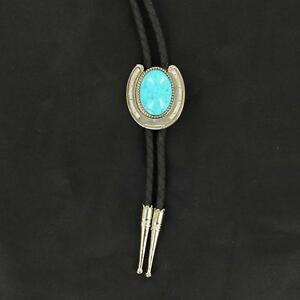 M&F Western Mens Bolo Neck Tie Horseshoe Stone Turquoise Silver 22108