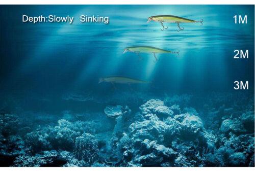 Lot 7p Fishing Lure Laser Minnow Hard Bait Slowly Sinking Professional Crankbait