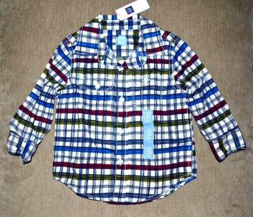 18-24M, 2, 3, 4 New $25 Authentic Baby GAP Boy/'s Cotton Button Down Long Shirt
