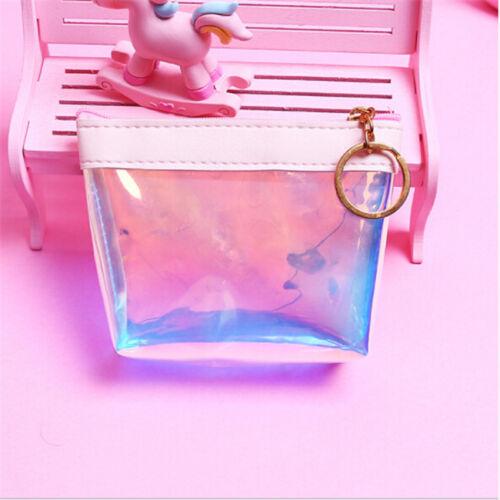 Women Wallet Card Key Holder Transparent PVC Laser Coin Purse Zipper Bag Case CB