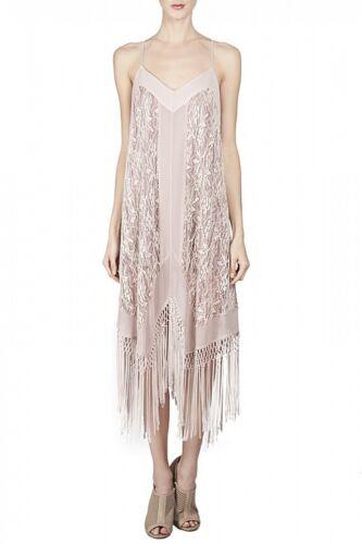 New Tags Ryu Pink Mauve Maxi Long Strap Sleeveless Fringe Lace Dress S $150