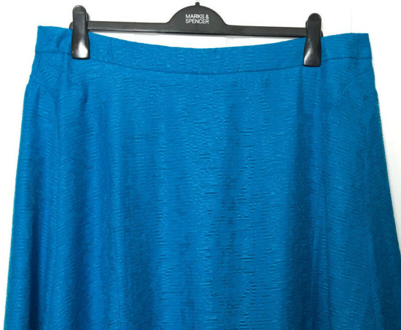 Damen M&s Rock / Klassisch Blau Burn Out Look A-linie Midi 22 Bnwot / Marks
