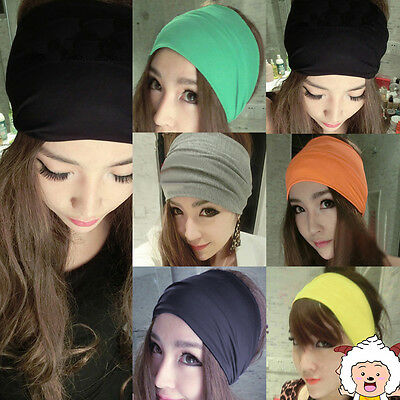 5inch Women Colored Wide Yoga Headband Stretch Hairband Elastic Hair Band Turban
