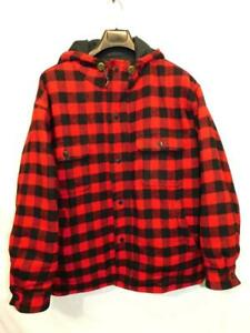Vintage-Woolrich-L-Red-Black-Buffalo-Plaid-Wool-Coat-Hood-Button-Reversible-Mens