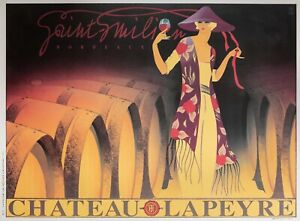 Affiche-Originale-Philippe-Sommer-Saint-Emilion-Chateau-Lapeyre-Vin-1995